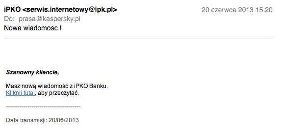 Wiadomość e-mail docierająca do użytkowników w ramach nowego ataku phishingowego - przykład 1