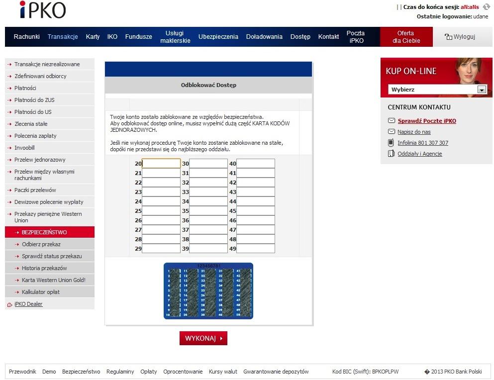 Sfałszowana strona nakłaniająca do podania kodów jednorazowych autoryzujących transakcje bankowe
