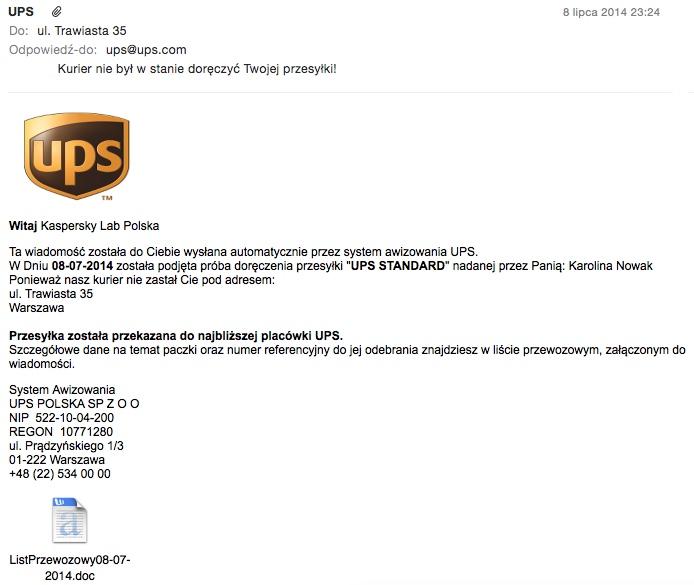 Przykład rozsyłanego w Polsce e-maila, w którym przestępcy podszywają się pod znaną firmę kurierską