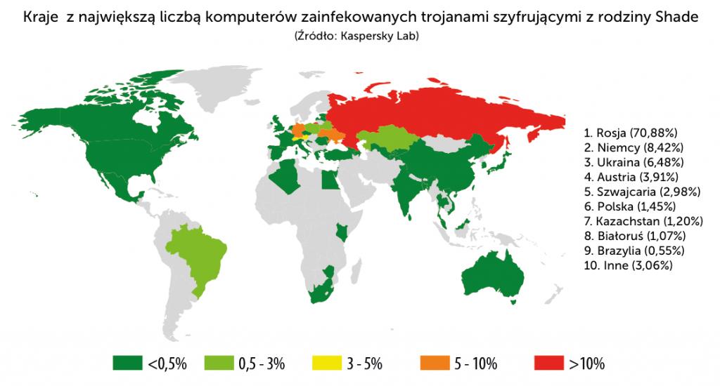 Kraje z największą liczbą komputerów zainfekowanych trojanami szyfrującymi z rodziny Shade
