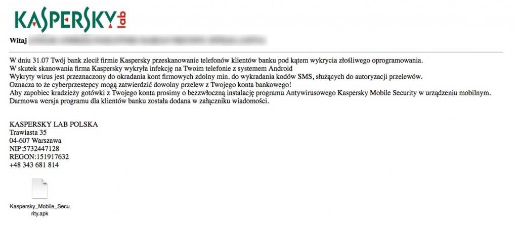 Niebezpieczny e-mail rzekomo od firmy Kaspersky Lab