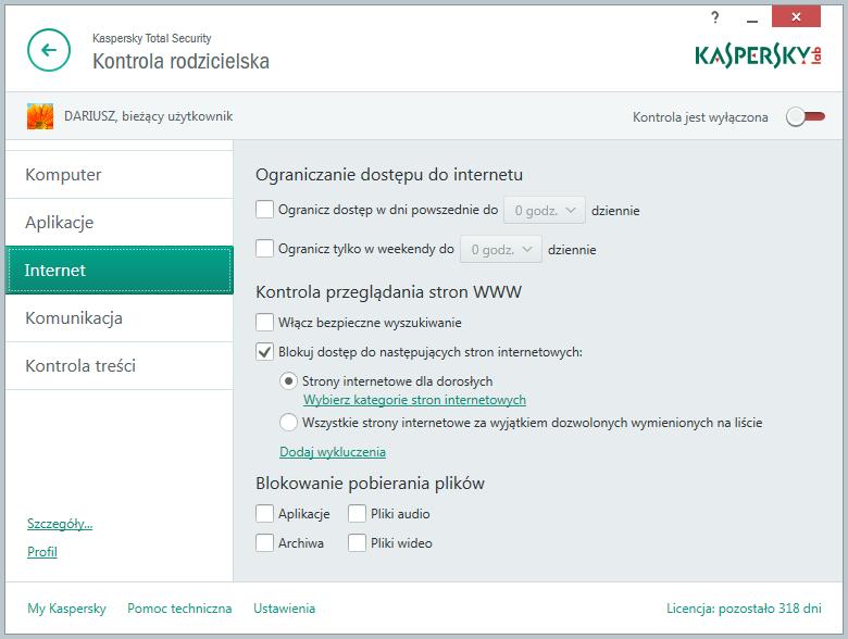 Kaspersky Total Security - kontrola rodzicielska