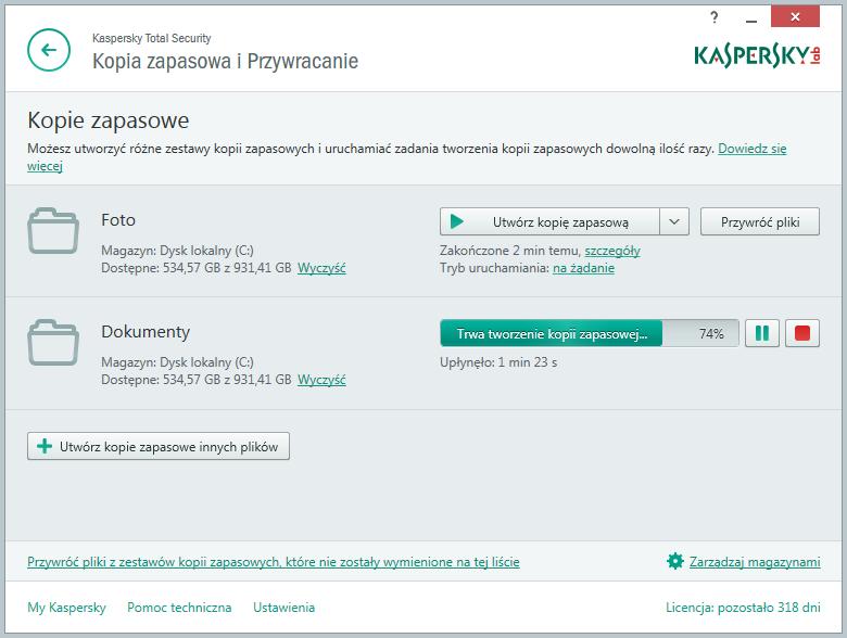 Kaspersky Total Security - tworzenie kopii zapasowej