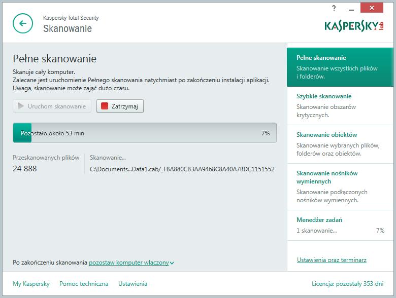 Kaspersky Total Security - skanowanie