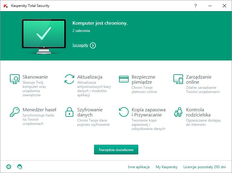 Kaspersky Total Security - okno główne programu