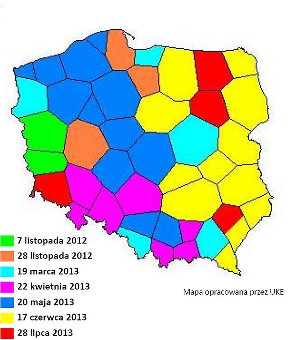 Terminy wyłączeń telewizji analogowej w poszczególnych regionach Polski: