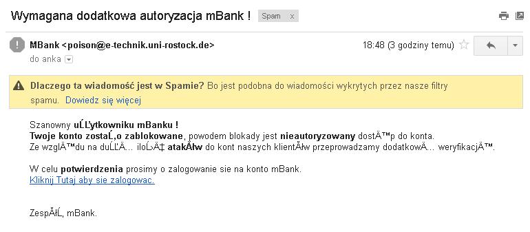 Phishingowy e-mail do użytkowników mBanku - 1