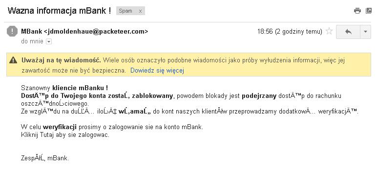 Phishingowy e-mail do użytkowników mBanku - 2