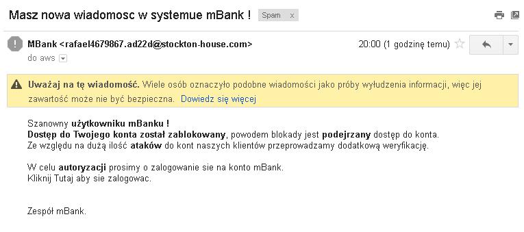 Phishingowy e-mail do użytkowników mBanku - 3