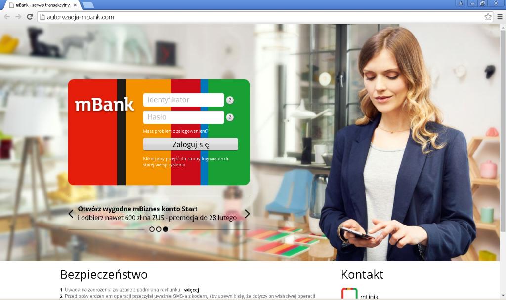 Strona wyłudzająca dane do użytkowników mBanku