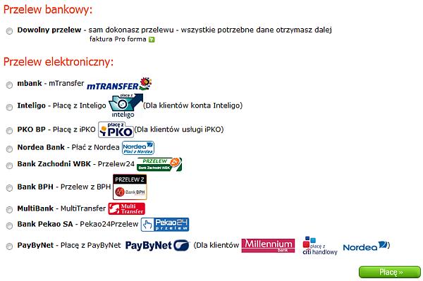 Wybór banku oferującego usługę e-przelewu