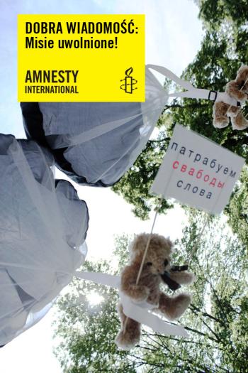 Postępowanie karne w sprawie spadochronowego desantu pluszowych misiów wzywających do obrony wolności słowa na Białorusi zostało zamknięte