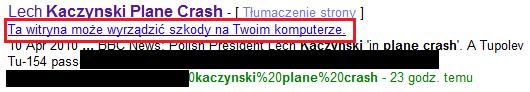 Szkodliwe oprogramowanie czyhające na internautów zainteresowanych katastrofą w Smoleńsku