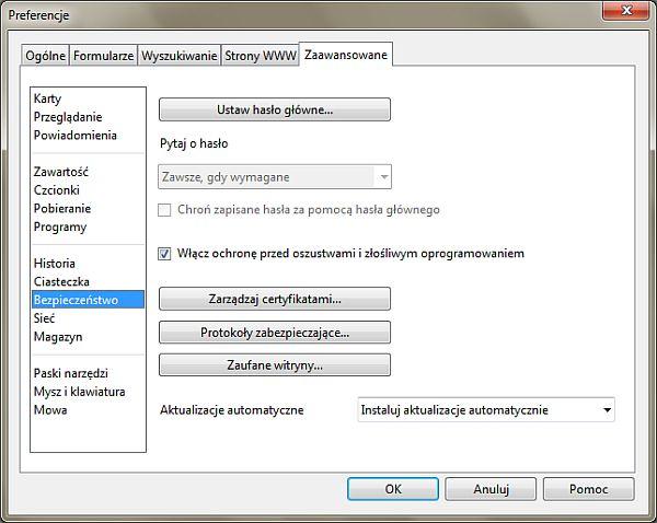 Włączanie automatycznych aktualizacji w przeglądarce Opera 11.10