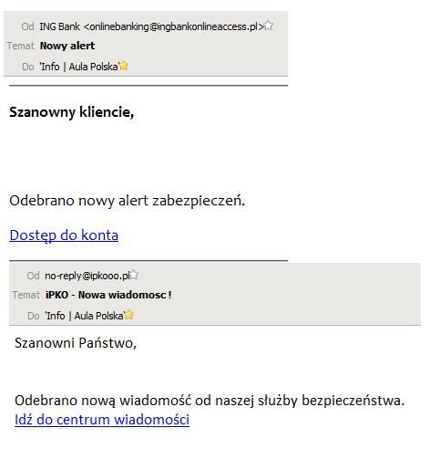 Wiadomość e-mail docierająca do użytkowników w ramach nowego ataku phishingowego - przykład 2