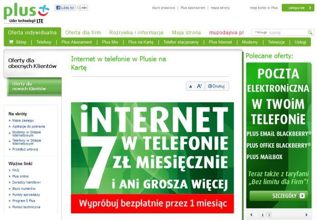 """Zrzut ekranu z ofertą """"Internet w telefonie w Plusie na Kartę"""""""