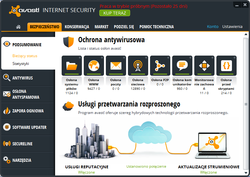 avast! Internet Security - lista i status osłon