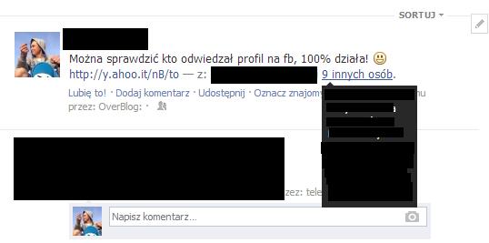 Post informujący o możliwości sprawdzenia, kto odwiedzał nasz profil na Facebooku