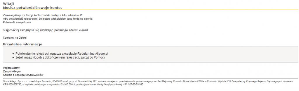 Przykładowa wiadomość phishingowa