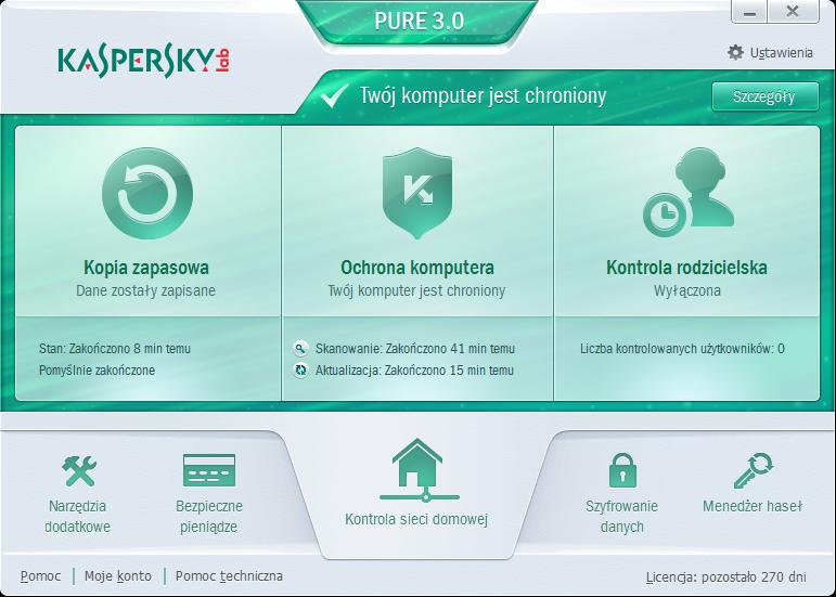 Kaspersky PURE 3.0 - główne okno programu