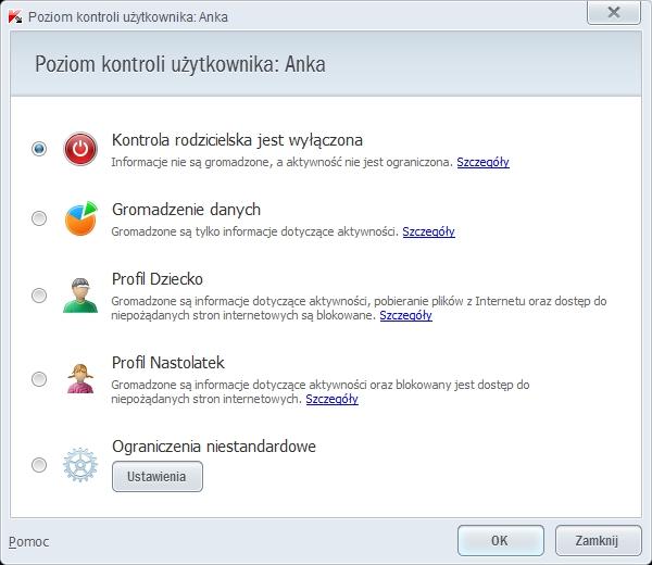 Kaspersky PURE 3.0 - poziomy kontroli rodzicielskiej