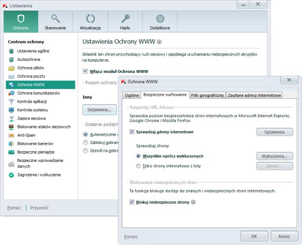 Kaspersky PURE 3.0 - konfigurowanie Ochrony WWW