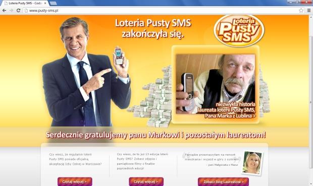 Loteria Pusty SMS zakończyła się - zrzut ekranu