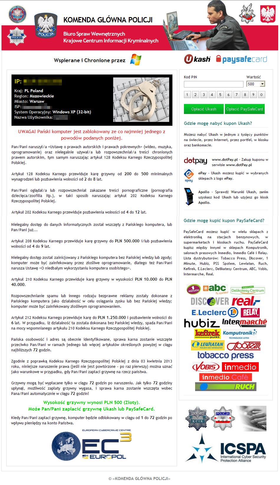 Przykład ransomware rozpowszechnianego w Polsce, źródło: CERT