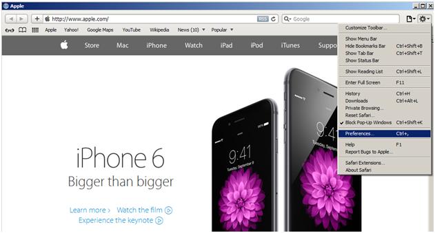 Włączanie filtrów antyphishingowych w przeglądarce Apple Safari - rys. 1