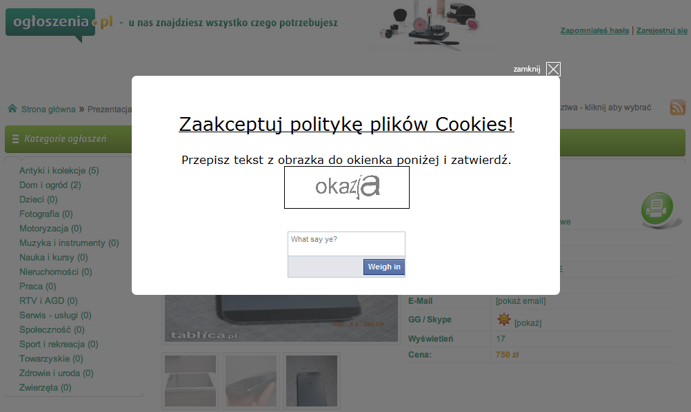 Prośba o wpisanie kodu CAPTCHA