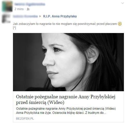 Scamerzy żerują na śmierci Anny Przybylskiej. Źródło: Gazeta Wyborcza