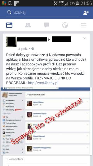 Fałszywa wiadomość na Facebooku