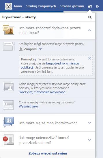 Ustawienia prywatności na Facebooku - rys. 1