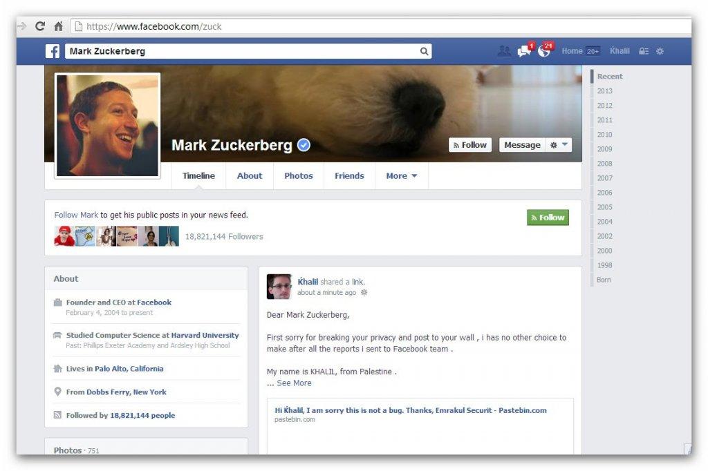 Post Khalila Shreateha na osi czasu Marka Zuckerberga