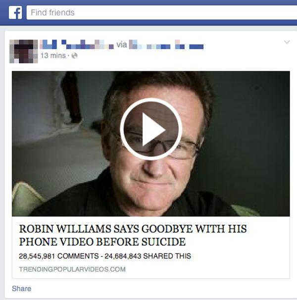 Pożegnanie Robina Williamsa przed popełnieniem samobójstwa - link na Facebooku kierujący do rzekomego materiału wideo