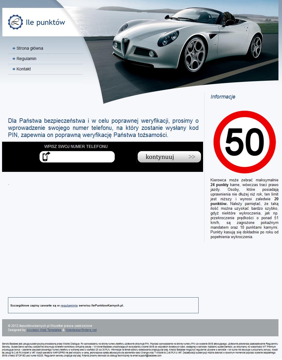 ilepunktowkarnych.pl - zachęta do podania numeru telefonu