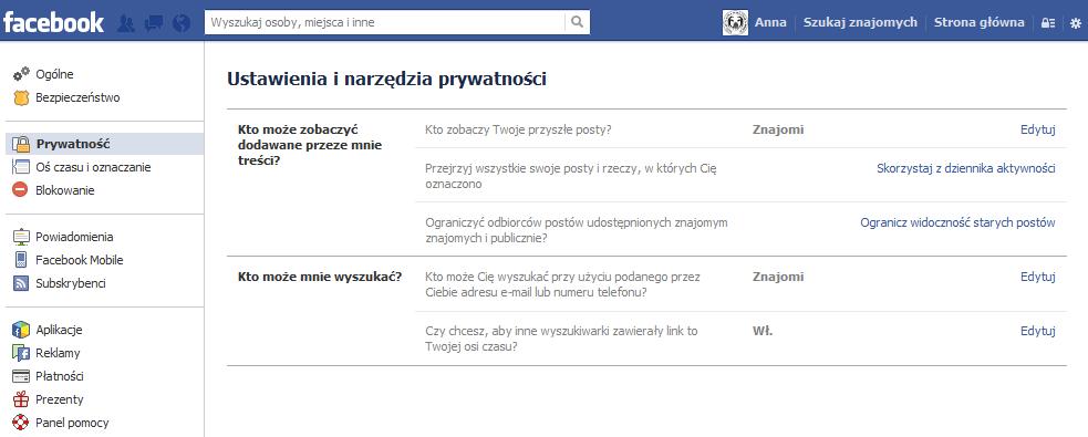 Ustawienia prywatności na Facebooku - rys. 7