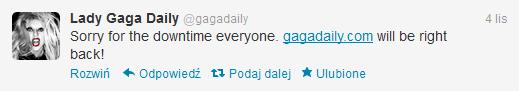 Informacja o problemach Lady Gaga Daily na Twitterze