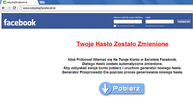 Strona informująca o rzekomym włamaniu na konto