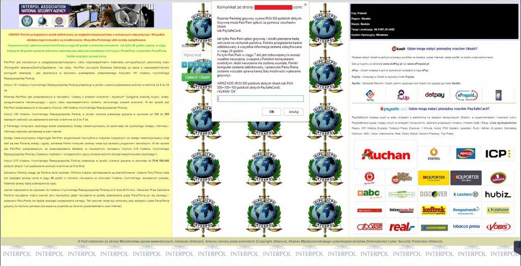 Strona żądająca okupu za odblokowanie dostępu do przeglądarki