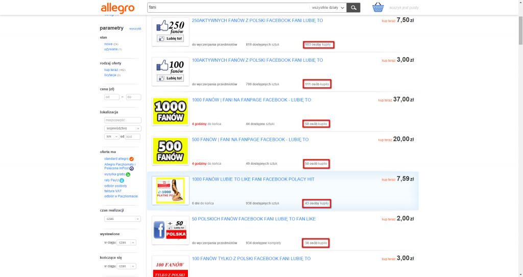 Oferty sprzedaży fanów na Allegro