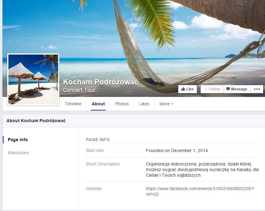 Przykładowy fałszywy fanpage na Facebooku