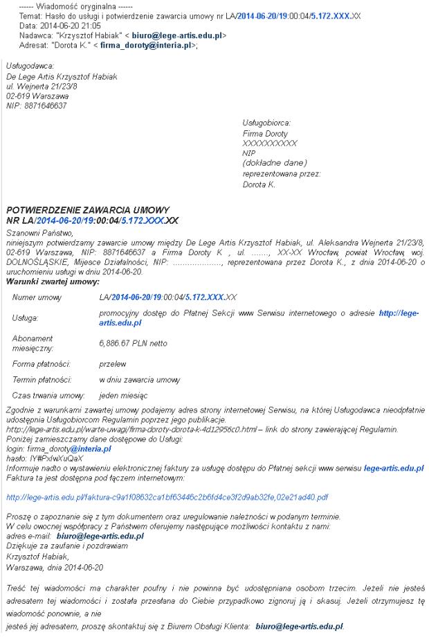 Potwierdzenie zawarcia umowy od Krzysztofa Habiaka