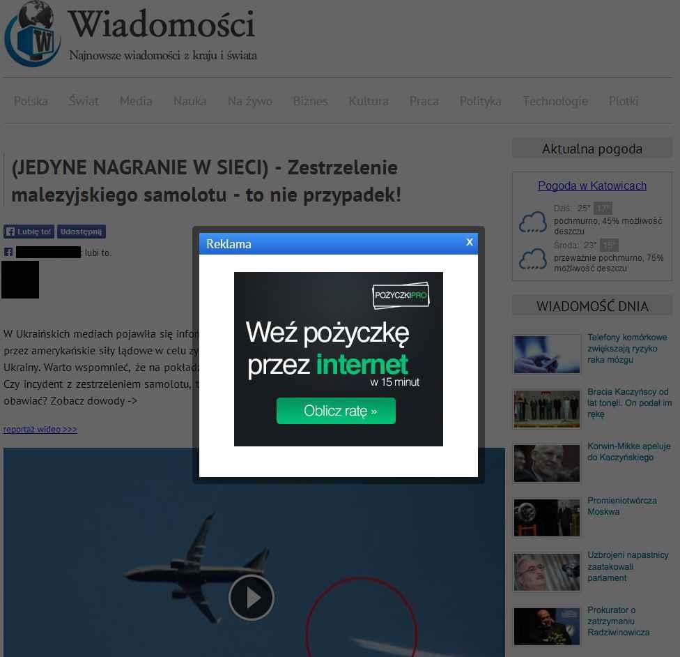 Strona wymuszająca lajki