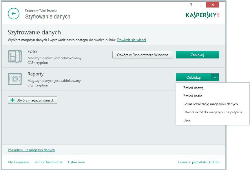 Kaspersky Total Security - szyfrowanie danych