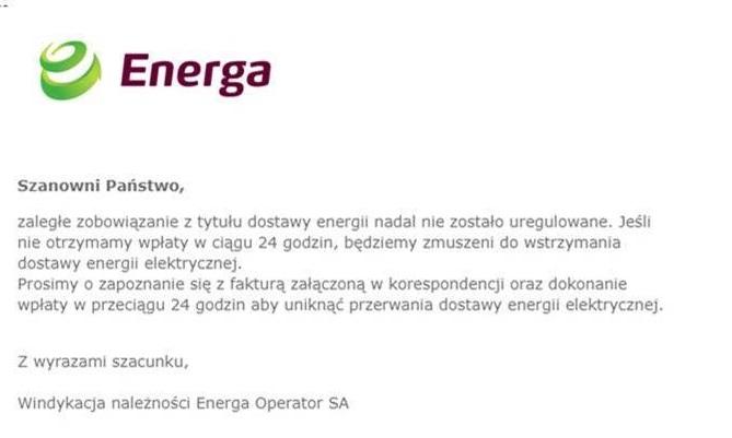 Niebezpieczny e-mail - Energa