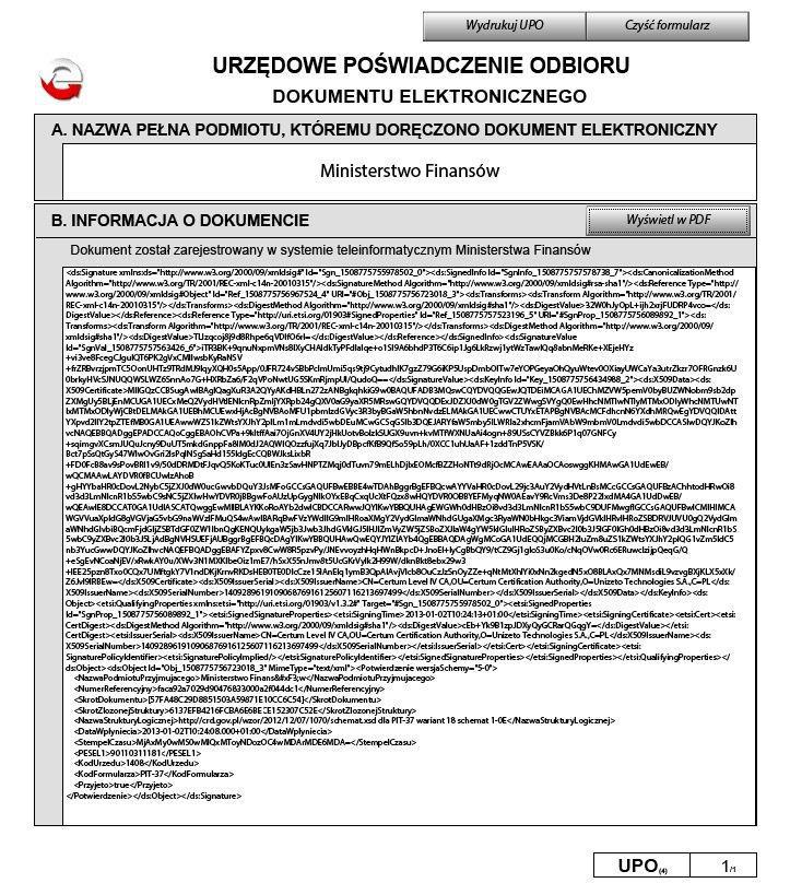 Wzór prawidłowego formularza UPO - dokument wyświetlony w XML