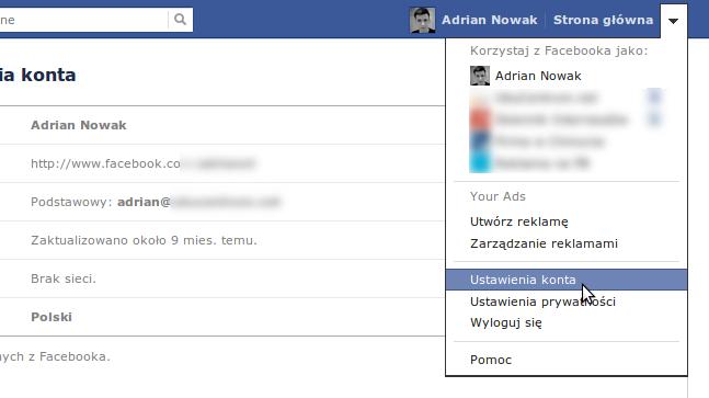Ustawienia konta - Facebook