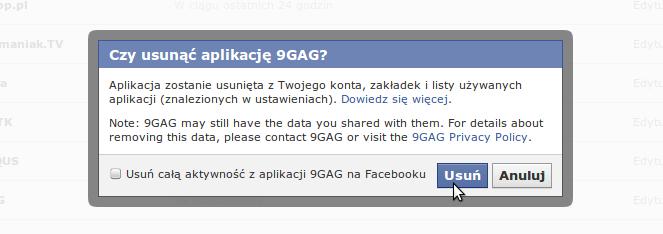 Usuwanie aplikacji - Facebook