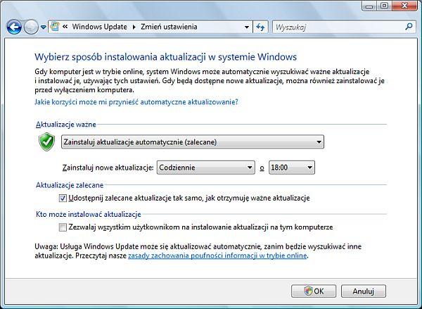 Włączanie automatycznych aktualizacji w systemie Windows Vista